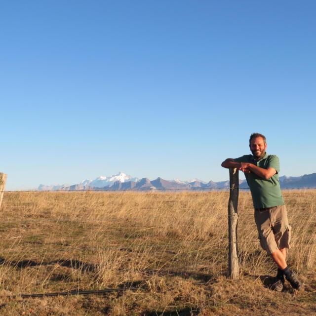 Dominique Ernst, Alm les Crêts auf dem Mont Salève, Herbst 2018. Atmosphäre einer argentinischen Pampa im Vordergrund des Mont-Blancs.